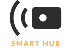 wireless smart hub logo labeled with orange text